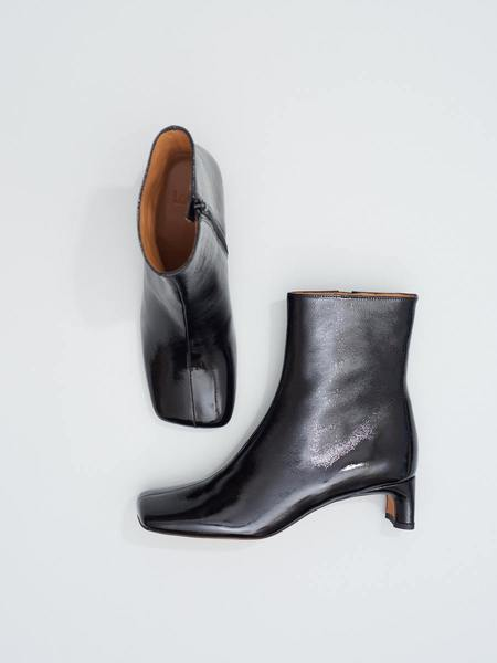 LOQ Monica Crinkle Patent Boots - Black