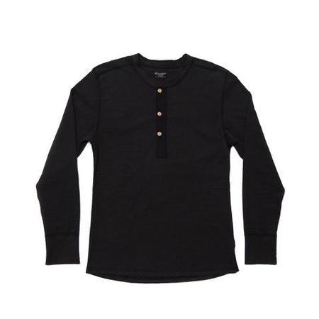Homespun Knitwear Coalminer Henley - Black