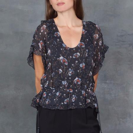 Ulla Johnson Lief Midnight Floral Print Ruffle Top