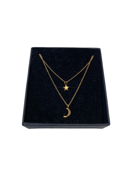 Luna & Stella Mama + Me Moon and Star Necklaces - Gold Vermeil