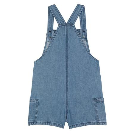 Kids Stella McCartney Overalls With Embroidered Palm Trees - Denim Blue