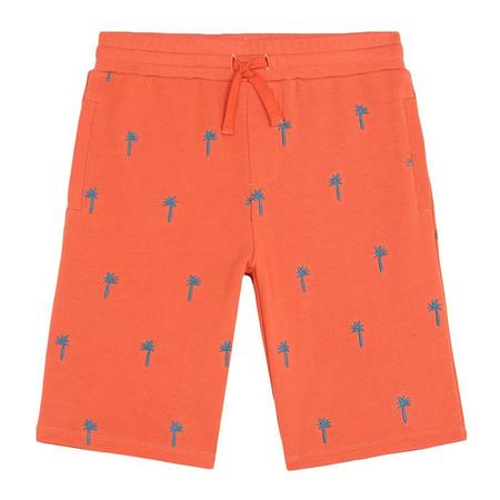 Kids Stella McCartney Sweatshorts With Embroidered Palm Trees - Orange