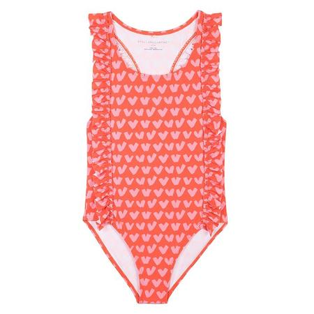 Kids Stella McCartney Swimsuit With All Over Heart Print - Red