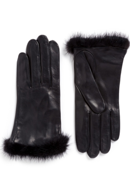 Georges Morand Mink Trim Leather Gloves