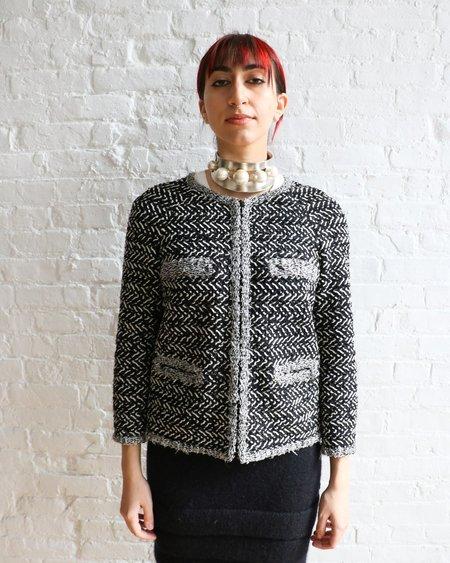 [pre-loved] Chanel Tweed Zip Up Jacket - Black/White