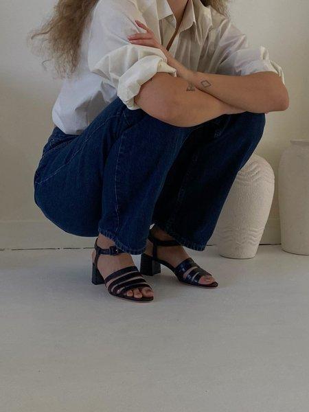 Maryam Nassir Zadeh Palma Low Sandal - Navy Croc