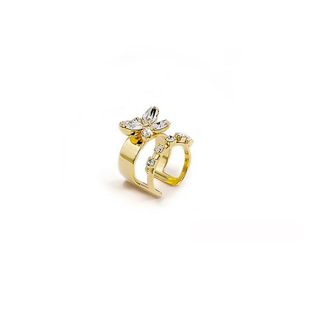 Joomi Lim Double Band Crystals and Mini Crystal Butterfly Ring - 24k gold/brass
