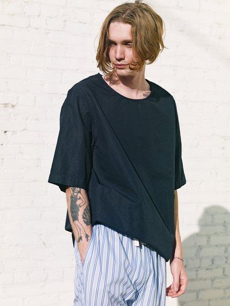 Casey Casey Pajama Haut Cotton Linen Shirt - navy