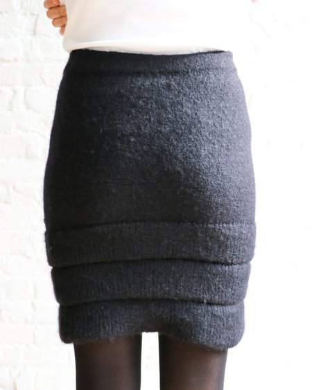 [pre-loved] Chanel Mohair Knit Tiered Mini Skirt - Black