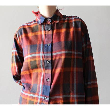 GREI. Long Sleeve Plaid Box Shirt - Rust Mix