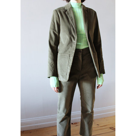 GREI. One Button Corduroy Suit Jacket - Grey Olive