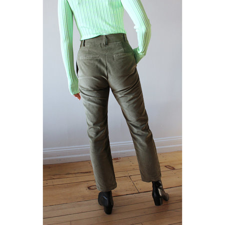 Grei. Corduroy Slim Line Pant - Grey Olive