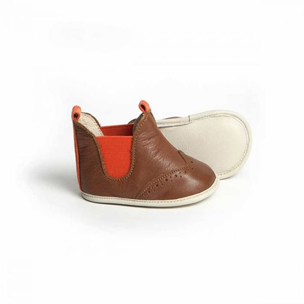 Little Lulu's Brown and Orange Archie Chelsea Boots