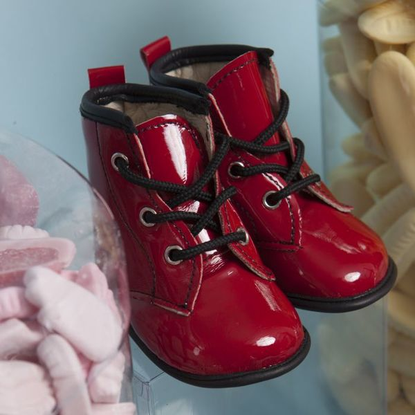 Little Lulu's Red Ruby Patent Tall Boots with Black Trim