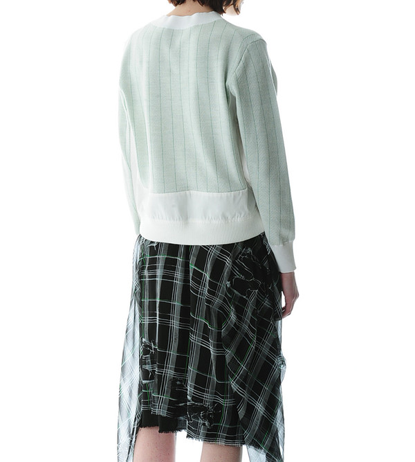 Sacai Luck Pinstriped Off-White Pullover