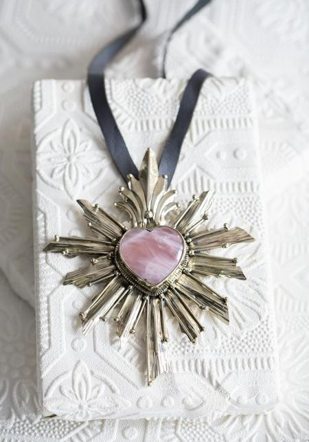 Tita Lopez Rose Quartz and Rays Heart Milagros Necklace