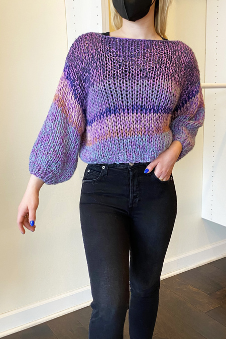 Maiami Melange Big Sweater - Lilac Melange Stripes