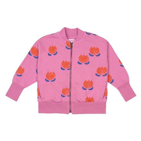 Kids Bobo Choses Sweatshirt With Zipper And All Over Chocolate Flower Print - Pink