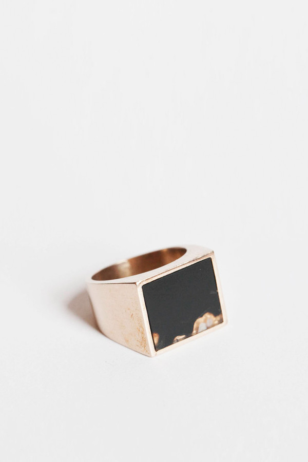 Men's Legier Brass and Onyx Signet Ring