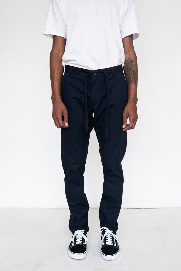 Men's Assembly New York Cotton Twill Kyoto Slim Flat Front Pant - Navy