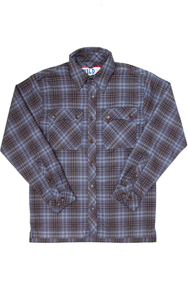 Men's Wild Outdoor Apparel WILD Lumberjack Flannel Blue Plaid