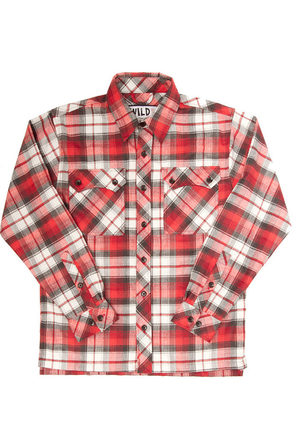 Men's Wild Outdoor Apparel WILD Lumberjack Flannel Red Plaid