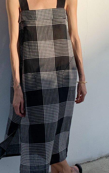 Two Plaid Fold Over Dress - Black/White Plaid