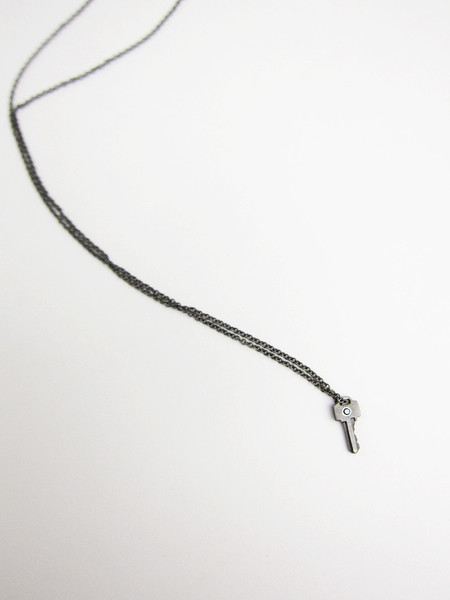 Lauren Klassen Tiny Key Necklace with Diamond
