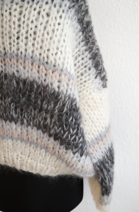 Maiami Mohair Big Sweater - Creme Melange Stripe