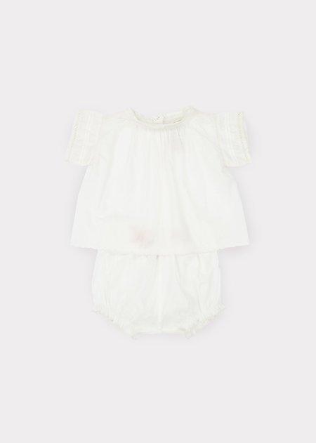 kids Caramel Victorian Baby Set - Off White