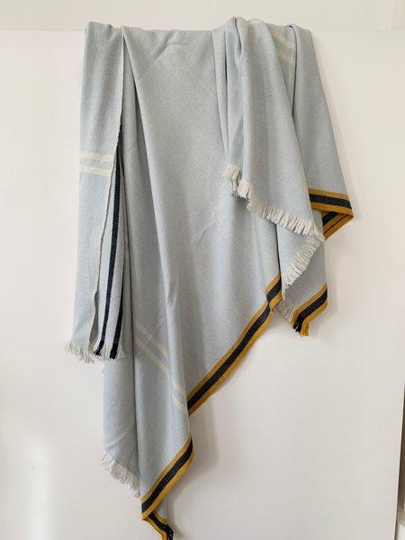 M.Patmos Soft Wool Shawl - Pale Blue/Mustard Trim