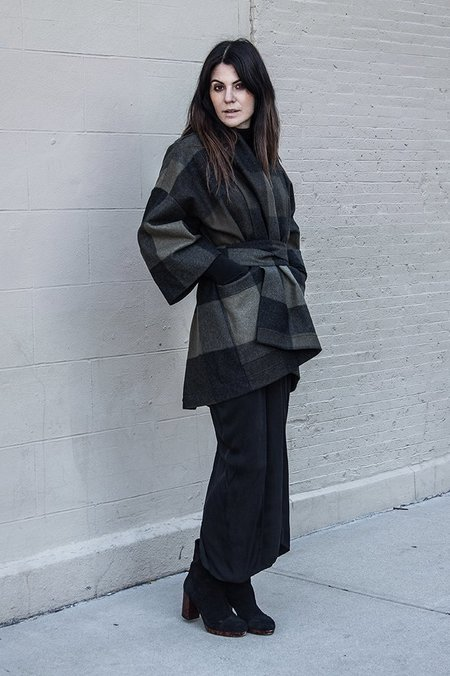 SCHAI Kimono Tie Poncho cardigan - Army Green Multi