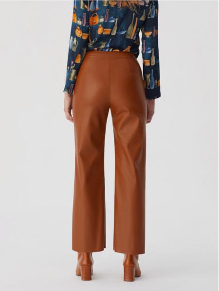Nice Things PU pants - Shiny Brown