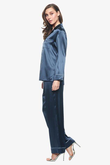 NK IMODE Chloe Long PJ Set With Piping - Twilight Blue