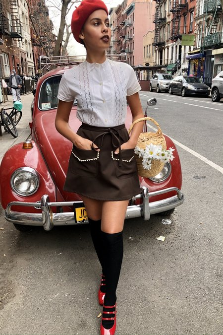 Cloak & Dagger Birkin Mod Rick Rack Mini Skirt - Chocolate