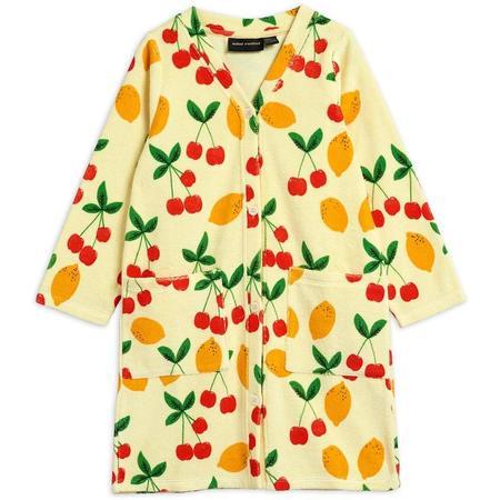 kids mini rodini cherry lemonade terry robe - yellow
