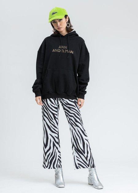 Ann Andelman Leopard Rhinestone Logo Hoodie - Black
