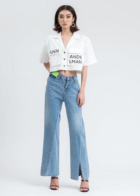 Ann Andelman Cropped Pocket Shirt - White