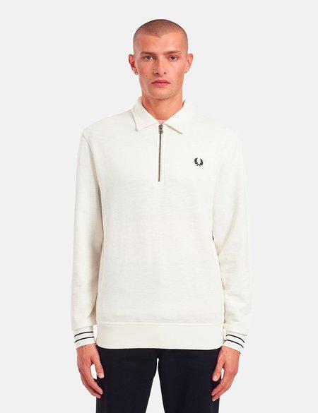 Fred Perry Zip Neck Collar Sweatshirt - Light Ecru