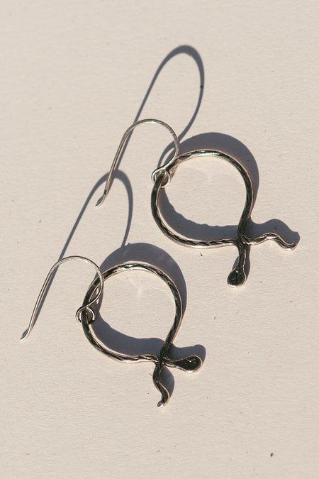 Blue & Blue Serpentine Hoop Earrings  - Silver