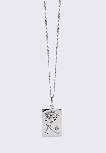 Meadowlark Amour Necklace - silver/pink sapphire