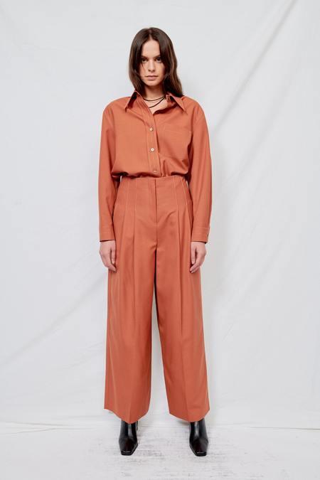 LVIR Wool Contrast Stitch Wide Pants - Orange