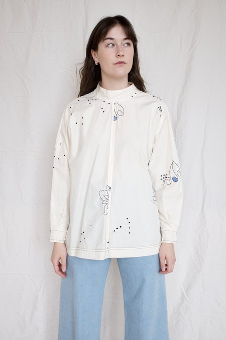 Mr. Larkin Rainey Shirt Embroidery - Beige