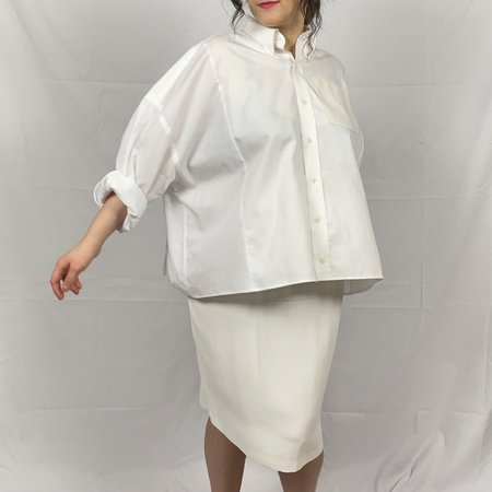 Laurs Kemp Upcycled Drop Shoulder Shirt - White