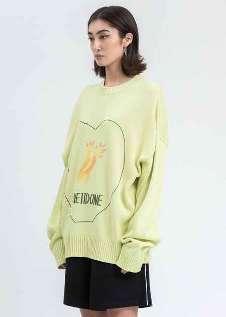 we11done Printed Knit Sweater - Lime
