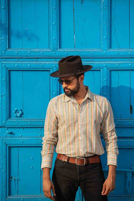 Dushyant Asthana The Amir Long Sleeves Shirt - Green Stripes