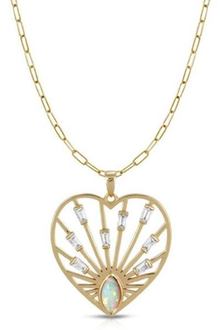 Elizabeth Stone Love, Always Pendant Necklace - 14k Gold Plated Brass