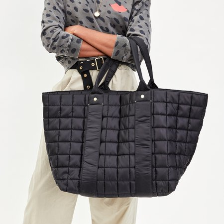 Clare V. Giant Tropezienne Quilted Puffer tote - Black