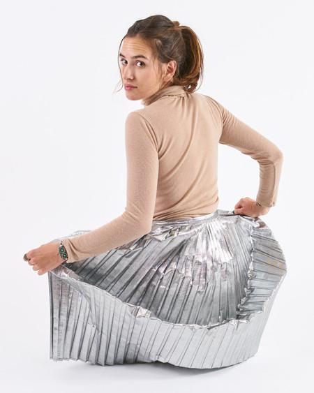 Polder Pleated Osaka Skirt Silver Lurex