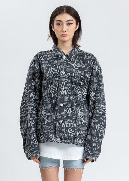 we11done WD Graffiti Allover Print Denim Jacket - Black